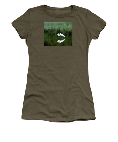 Egret Reflection Women's T-Shirt (Athletic Fit)