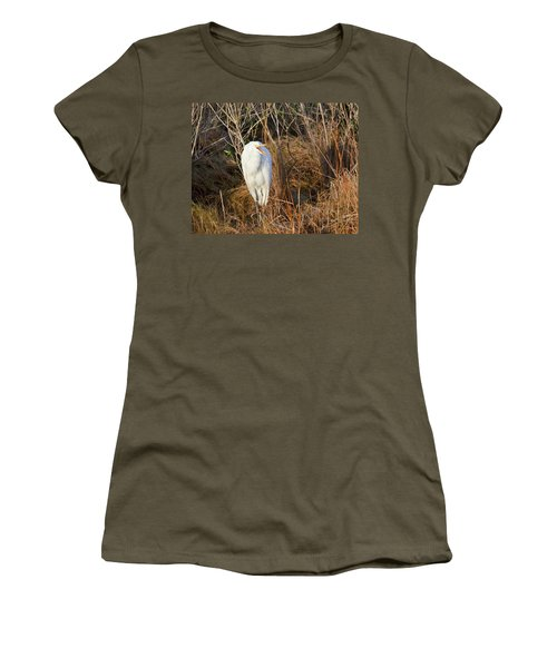 Egret With Something To Say Women's T-Shirt (Junior Cut) by George Randy Bass