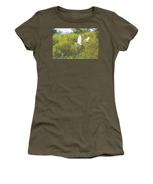 Women's T-Shirt (Junior Cut) featuring the photograph Egrets In Flight by Jennifer Casey