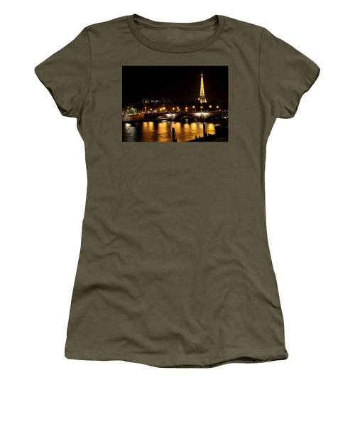 Women's T-Shirt (Junior Cut) featuring the photograph Eiffel Tower At Night 1 by Andrew Fare