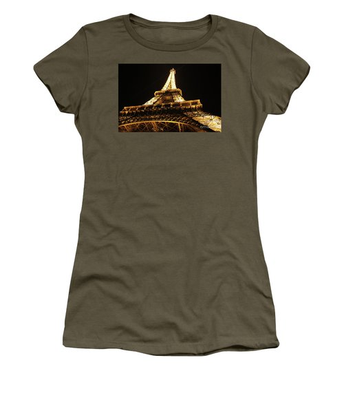 Women's T-Shirt (Junior Cut) featuring the photograph Eiffel Tower At Night by MGL Meiklejohn Graphics Licensing