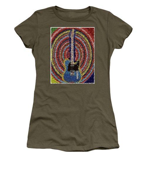 Women's T-Shirt (Junior Cut) featuring the mixed media Electric Guitar Bottle Cap Mosaic by Paul Van Scott