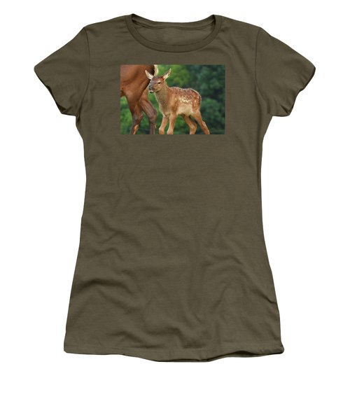 Elk Calf Arrives Women's T-Shirt (Junior Cut) by Alan Lenk