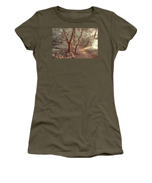Women's T-Shirt (Junior Cut) featuring the photograph Elvish Forest. Nature In Alien Skin by Jenny Rainbow