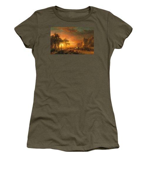 Women's T-Shirt (Junior Cut) featuring the photograph Emigrants Crossing The Plains - 1867 by Albert Bierstadt