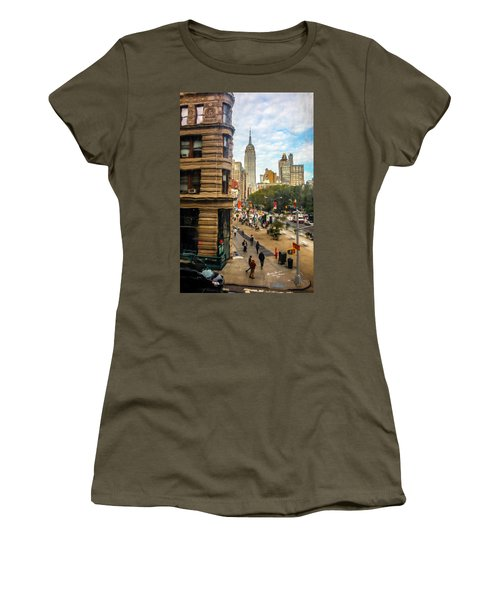 Women's T-Shirt (Junior Cut) featuring the photograph Empire State Building - Crackled View 3 by Madeline Ellis