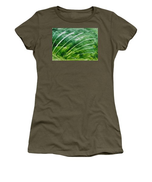 Encaustic Abstract Green Fan Foliage Women's T-Shirt