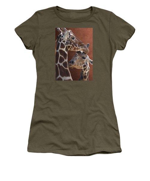 Endearing Giraffes Women's T-Shirt (Athletic Fit)