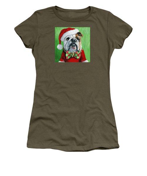 Holiday Cheer -english Bulldog Santa Dog Painting Women's T-Shirt (Junior Cut) by Linda Apple