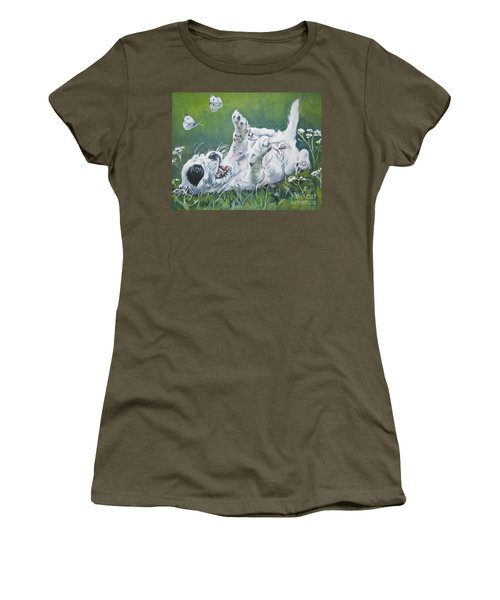 English Setter Puppy And Butterflies Women's T-Shirt (Athletic Fit)