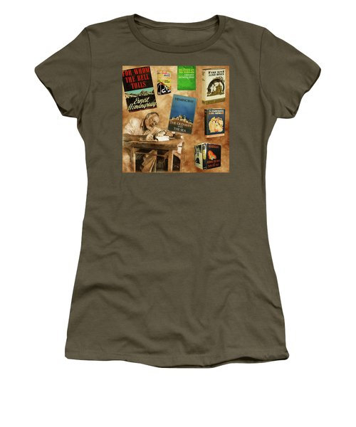 Ernest Hemingway Books 2 Women's T-Shirt (Junior Cut) by Andrew Fare