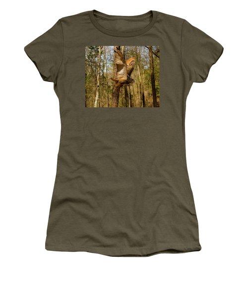 Eurasian Eagle Owl In Flight Women's T-Shirt (Athletic Fit)