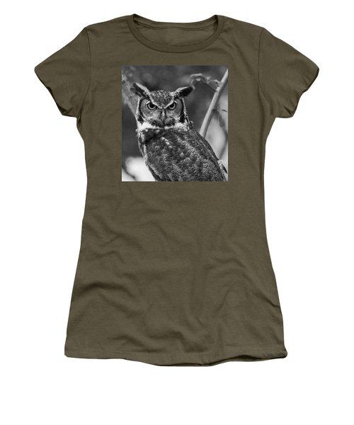 Eurasian Eagle Owl Monochrome Women's T-Shirt