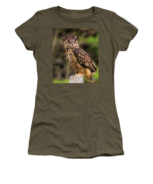 Eurasian Eagle Owl With A Cowboy Hat Women's T-Shirt (Junior Cut) by Les Palenik