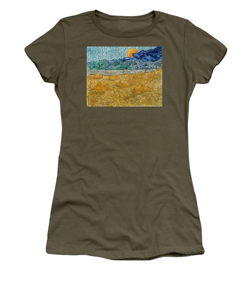 Women's T-Shirt featuring the painting Evening Landscape With Rising Moon by Van Gogh