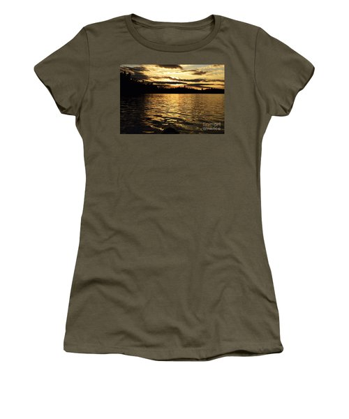 Women's T-Shirt (Junior Cut) featuring the photograph Evening Paddle On Amoeber Lake by Larry Ricker