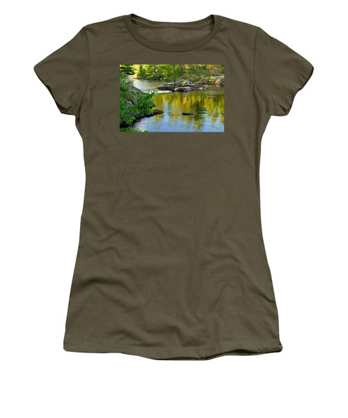 Evening Reflections At Lower Basswood Falls Women's T-Shirt (Athletic Fit)