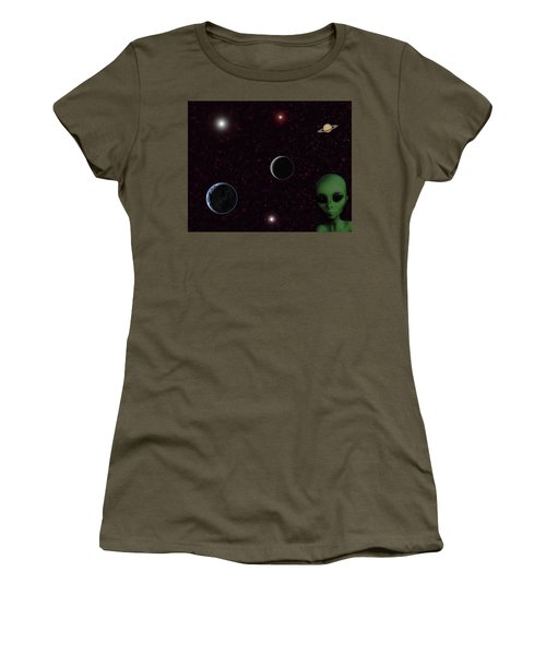 Women's T-Shirt (Athletic Fit) featuring the digital art Ever Wonder What Is Out There by Anthony Murphy