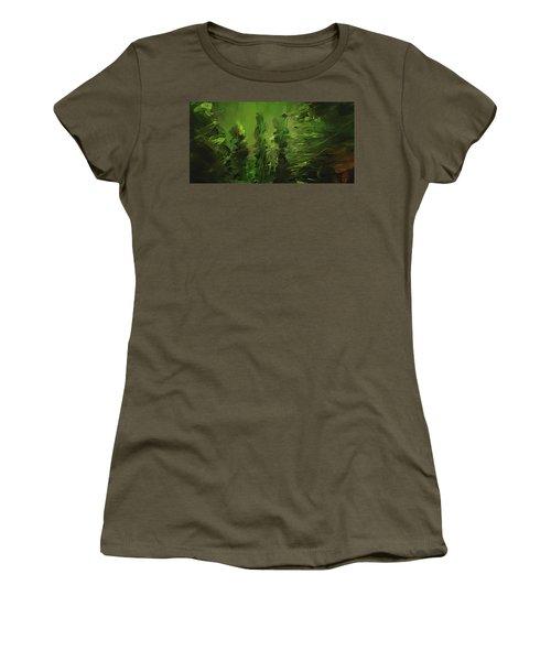 Evergreens - Green Abstract Art Women's T-Shirt