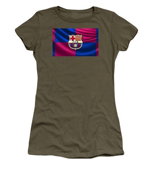 F. C. Barcelona - 3d Badge Over Flag Women's T-Shirt