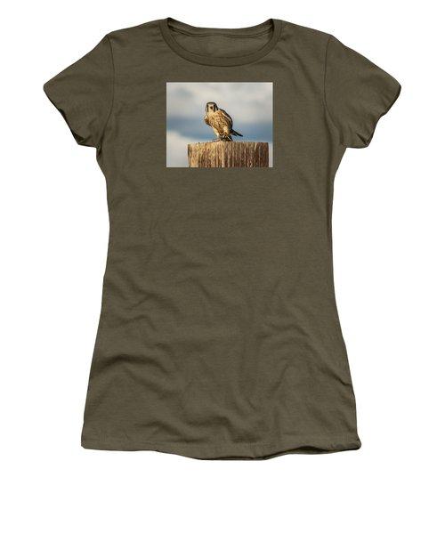 Women's T-Shirt (Junior Cut) featuring the photograph Faa American Kestrel by Daniel Hebard