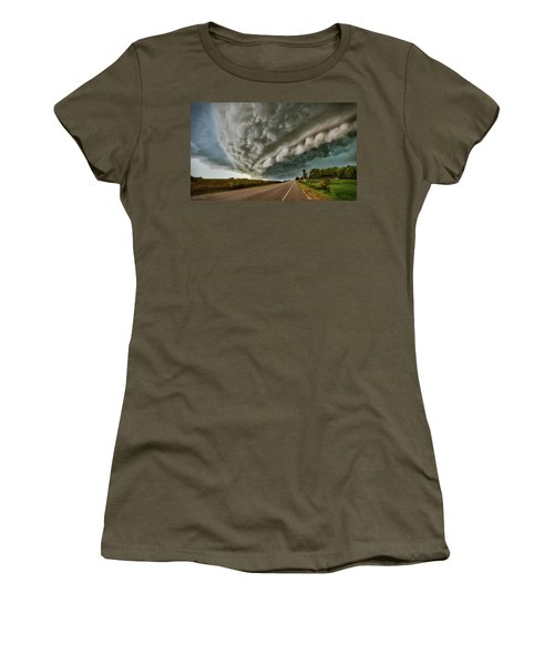 Women's T-Shirt featuring the photograph Face In The Storm by Andrea Platt