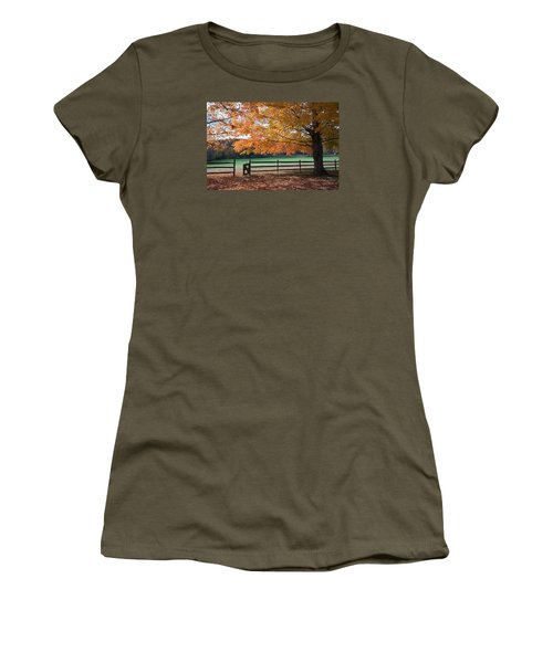 Fal Foliage And Fence Women's T-Shirt (Athletic Fit)