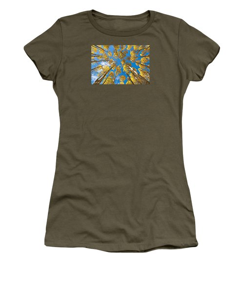 Fall Colored Aspens In The Inner Basin Women's T-Shirt (Junior Cut) by Jeff Goulden