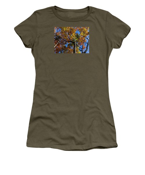 Women's T-Shirt (Junior Cut) featuring the photograph Fall Colorful Trees by Haleh Mahbod