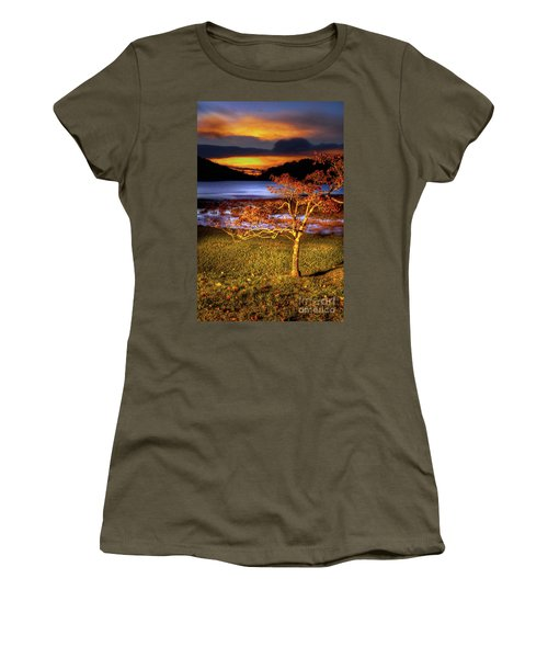 Women's T-Shirt (Junior Cut) featuring the photograph Fall Colors At Sunrise In Otter Blue Ridge by Dan Carmichael