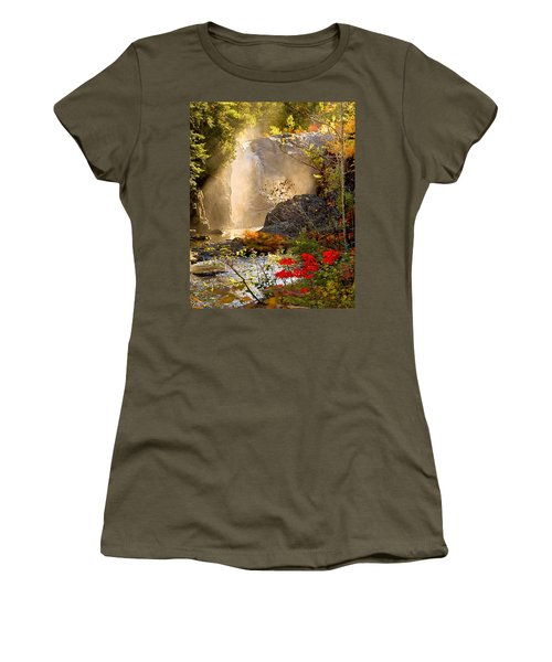 Fall Falls Mist  Dead River Falls  Marquette Mi Women's T-Shirt (Athletic Fit)