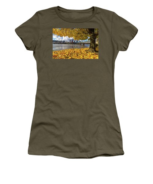 Fall Foliage With Portland Oregon City Women's T-Shirt (Athletic Fit)