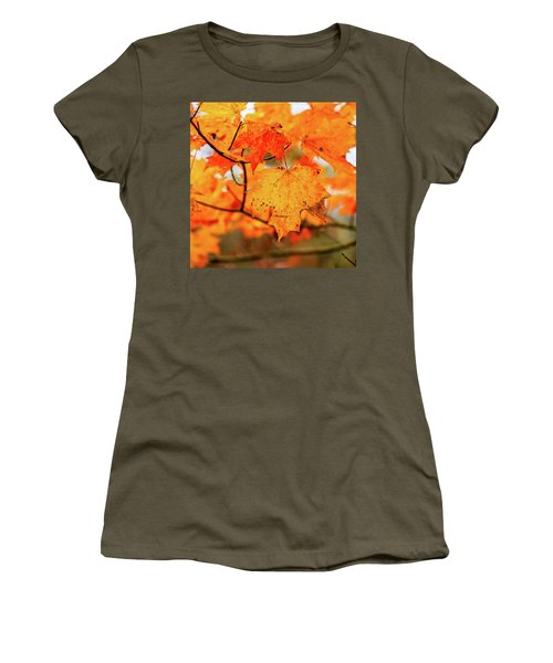 Fall Maple Leaf Women's T-Shirt (Athletic Fit)