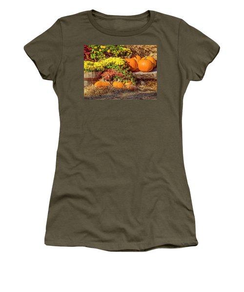 Women's T-Shirt (Junior Cut) featuring the photograph Fall Pumpkins by Carolyn Marshall