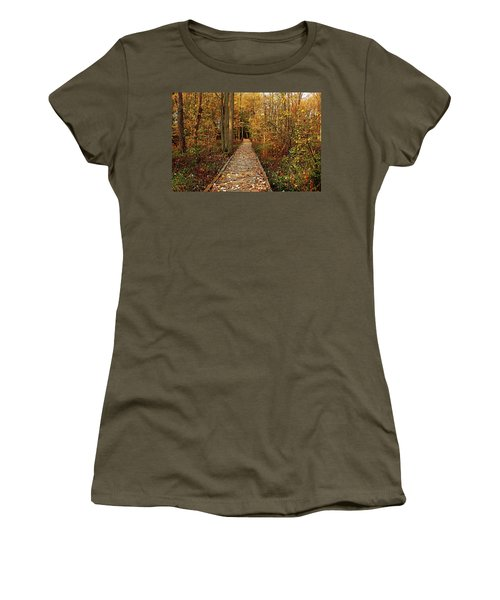 Fall Walk Women's T-Shirt (Junior Cut) by Debbie Oppermann