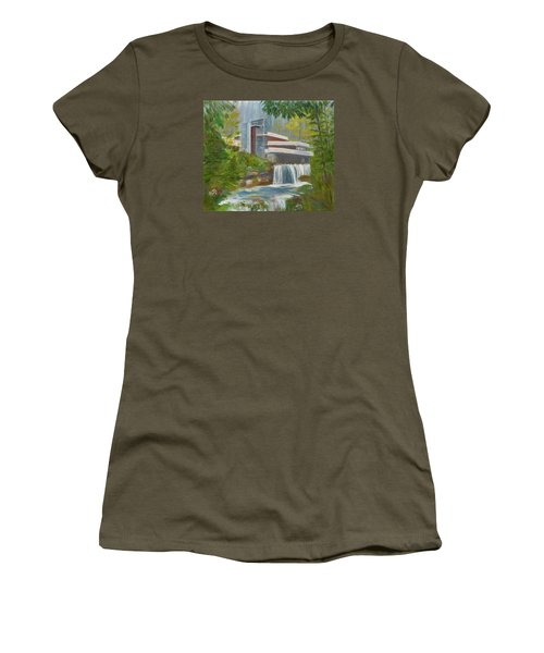 Women's T-Shirt (Junior Cut) featuring the painting Falling Water by Jamie Frier