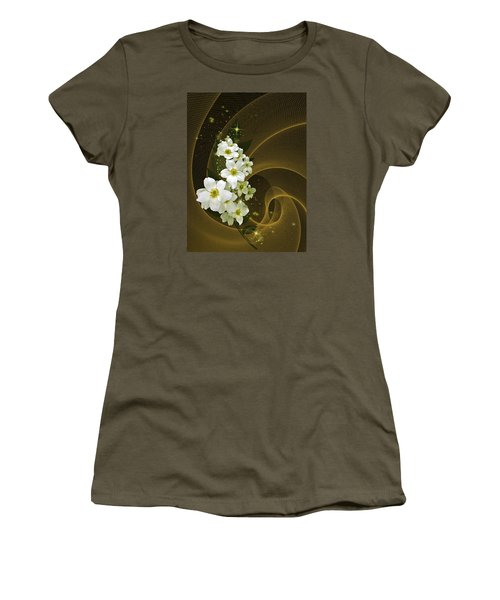 Fantasy In Gold And White Women's T-Shirt (Athletic Fit)