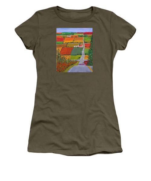 Country Farmland Quilt Women's T-Shirt (Junior Cut) by Mike Caitham