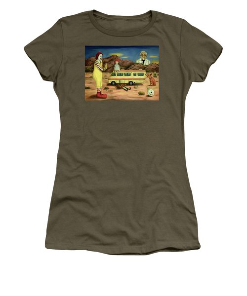 Women's T-Shirt (Junior Cut) featuring the painting Fast Food Nightmare 5 The Mirage by Leah Saulnier The Painting Maniac