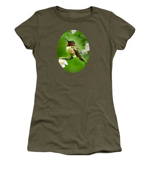 Fauna And Flora - Hummingbird With Flowers Women's T-Shirt (Junior Cut) by Christina Rollo