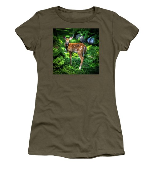 Women's T-Shirt (Athletic Fit) featuring the photograph Fawn In The Garden by David Patterson