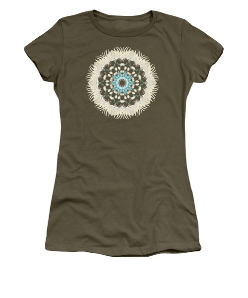 Feathers And Catkins Kaleidoscope Design Women's T-Shirt (Junior Cut) by Mary Machare