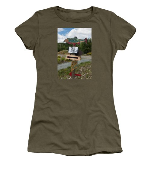 Feed The Trout Women's T-Shirt (Junior Cut) by Suzanne Gaff