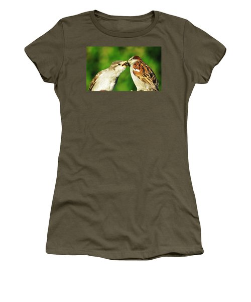 Women's T-Shirt (Junior Cut) featuring the photograph Feeding Baby Sparrow 3 by Judy Via-Wolff