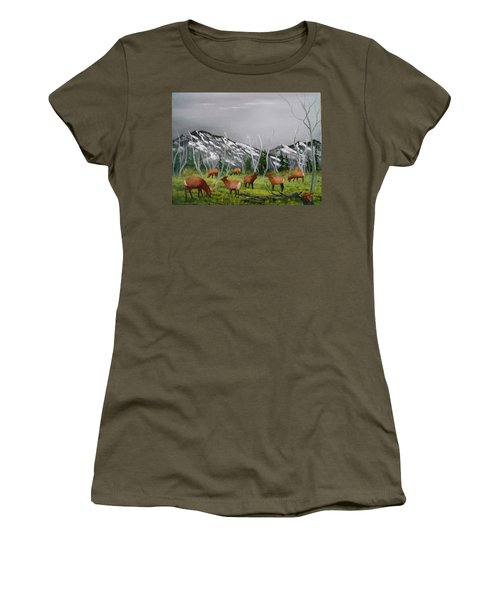 Feeding Elk Women's T-Shirt (Junior Cut) by Al Johannessen