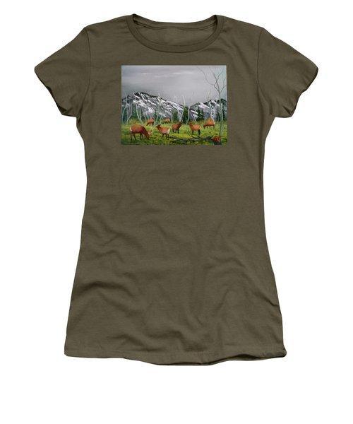 Feeding Elk Women's T-Shirt (Athletic Fit)