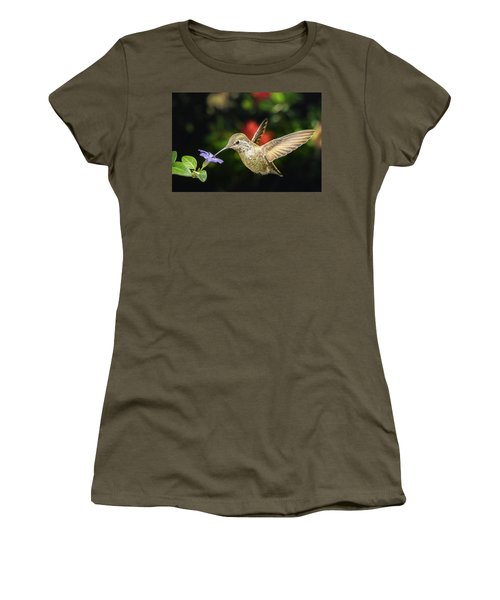 Women's T-Shirt (Athletic Fit) featuring the photograph Female Hummingbird And A Small Blue Flower Left Angled View by William Lee