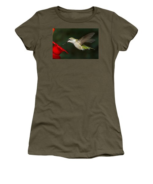 Women's T-Shirt featuring the photograph Female Ruby-troated Hummingbird by Robert L Jackson