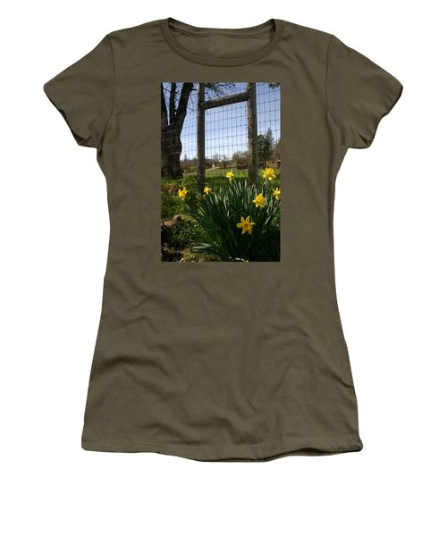 Women's T-Shirt (Junior Cut) featuring the photograph Fence With A View by Marie Neder