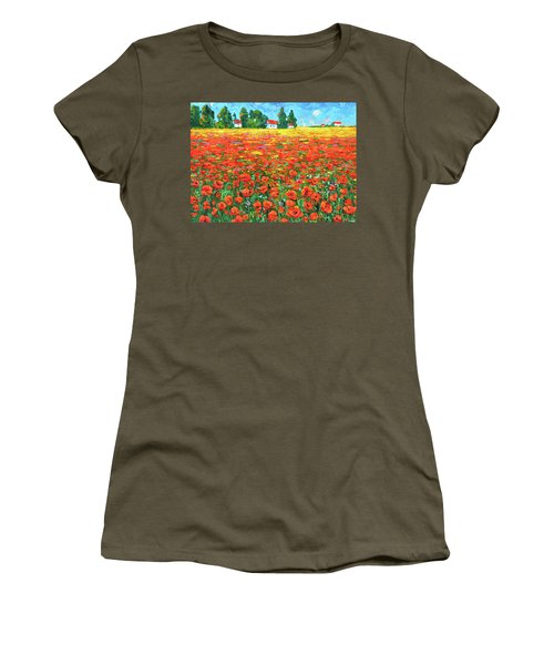 Field And Poppies Women's T-Shirt (Athletic Fit)